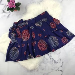 Anthropologie Odille blue silk floral skirt